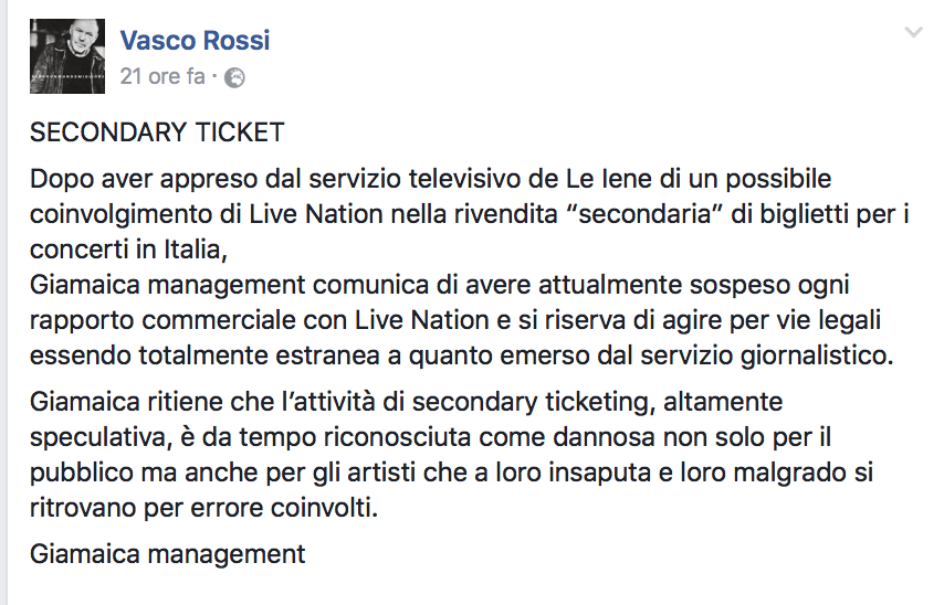 Secondary Ticketing, Vasco Rossi sospende il rapporto con Live Nation